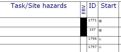 Evidence based visits are shown on the printed job sheet in the EBV column