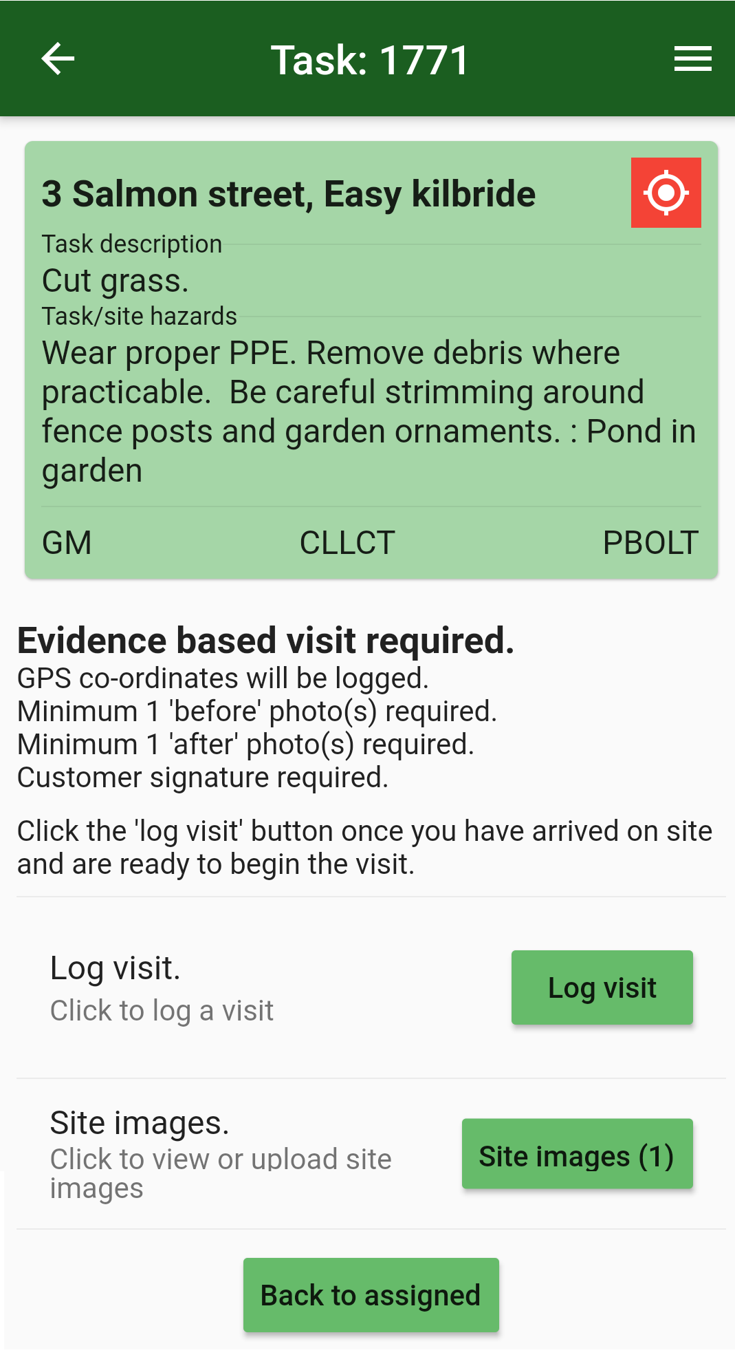Details about the selected task and its available options