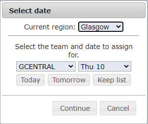 Select the region team and date you want to assign tasks for