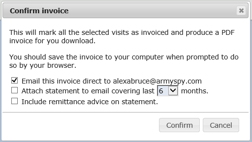 The confirm invoice dialog includes options to email the invoice direct to the customer
