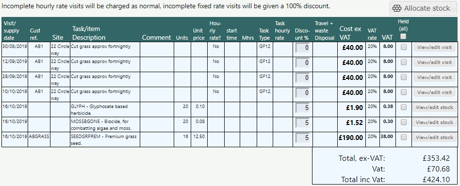 The invoice table lists all of the currently selected customers invoiceable items