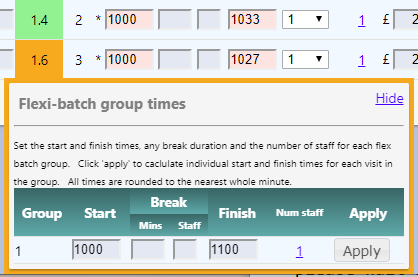 Using the flexi batch group to get times for visits carried out at the same time