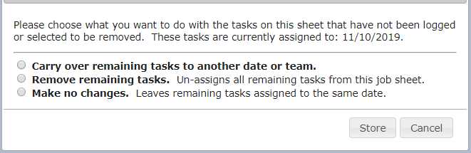 Options for tasks that were not carried out