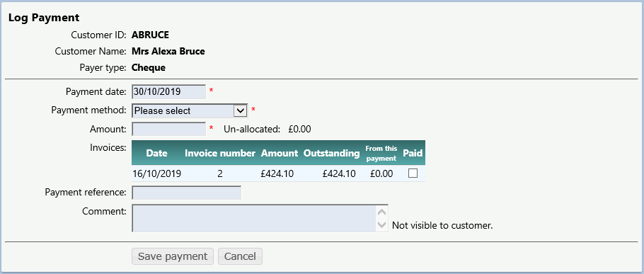 The log payment form