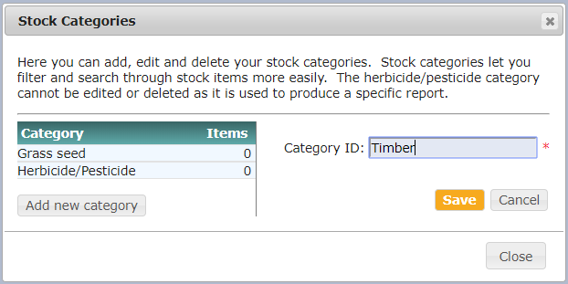Setting up stock categories