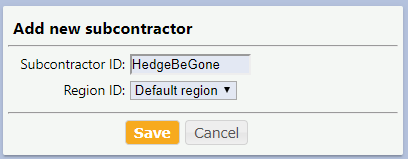 Adding a new subcontractor