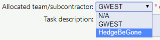 Allocating a task to a subcontractor on the task form