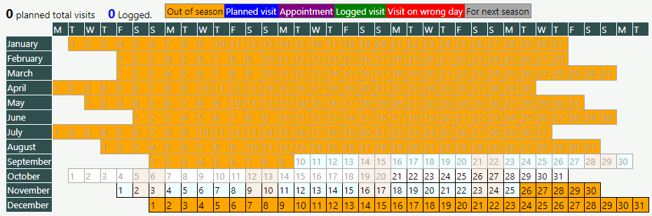 The year planner for an autumn task before any dates have been added
