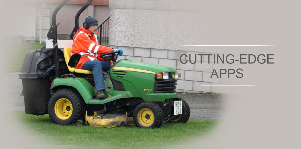 Groundleader - A cutting-edge app.  Image of X748 ride-on mower.