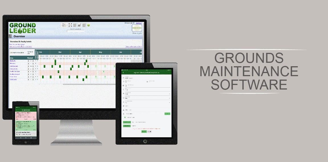 Grounds maintenance software.  Images of Groundleader on a desktop monitor, a tablet, and mobile handset.