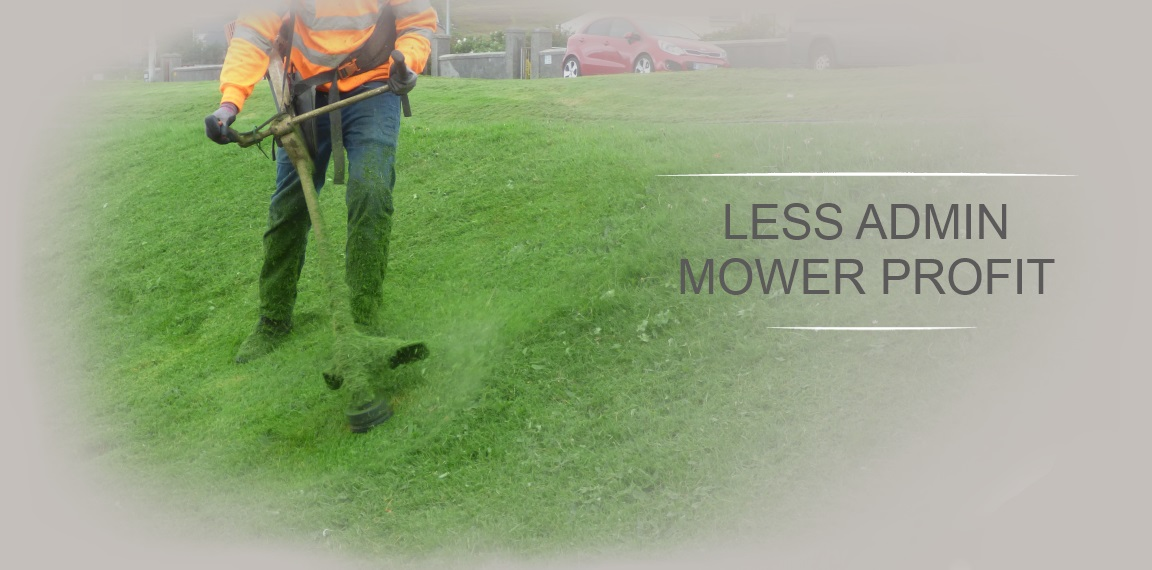 Less Admin.  Mower Profit.  Image of person using Stihl strimmer.